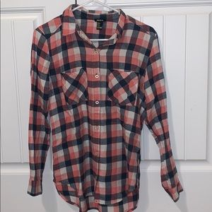 Navy and pink flannel